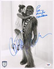 "CARRIE FISHER & PETER MAYHEW Signed ""Star Wars"" 11x14 Photo PSA/DNA #X82451"