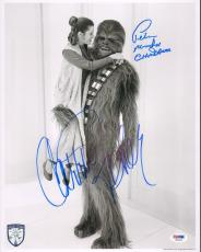"CARRIE FISHER & PETER MAYHEW Signed ""Star Wars"" 11x14 Photo PSA/DNA #X82452"