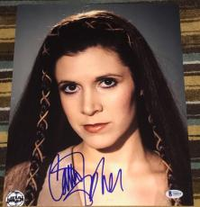 CARRIE FISHER SIGNED AUTOGRAPH CLOSE UP PRINCESS LEIA STAR WARS 11x14 PHOTO BAS