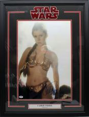 """Carrie Fisher Signed Star Wars 'leia"""" 16x20 Photo Framed Psa/dna #z29121"""