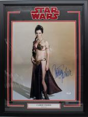 """Carrie Fisher Signed Star Wars """"leia"""" 16x20 Photo Framed Psa/dna #z29161"""