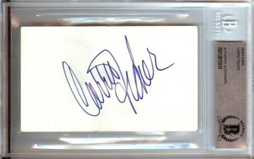 Carrie Fisher Signed Autographed 3X5 Index Card Star Wars Leia Beckett BGS