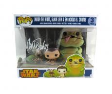 Carrie Fisher Signed Funko Pop! Star Wars Princess Leia, Jabba the Hut & Salacious B. Crumb Bobblehead Toy