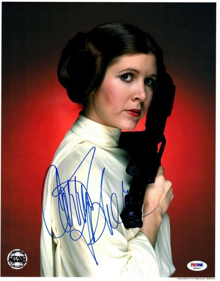 """CARRIE FISHER Signed """"LEIA"""" STAR WARS Official Pix 11x14 Photo PSA/DNA #X82457"""