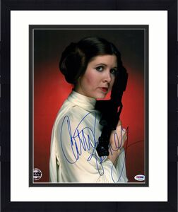"CARRIE FISHER Signed ""LEIA"" STAR WARS Official Pix 11x14 Photo PSA/DNA #X82458"