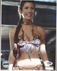 """CARRIE FISHER Signed STAR WARS """"Princess Leia"""" 8x10 Photo PSA/DNA #AB64377"""