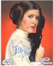 """CARRIE FISHER Signed STAR WARS """"Princess Leia"""" 8x10 Photo PSA/DNA #AB64388"""