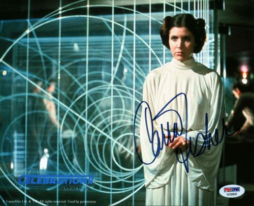 Carrie Fisher Star Wars Signed 8x10 Photo Star Wars Celebration II PSA #AC50820