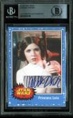Carrie Fisher Star Wars Signed Custom Card Autographed BAS Slabbed