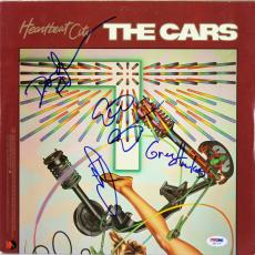 Cars (4) Ocasek +3 Signed Heartbeat City Album Cover W/ Vinyl PSA/DNA #S80770