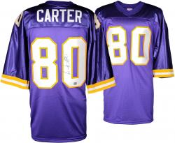 Cris Carter Minnesota Vikings Autographed Throwback Jersey - Purple - Mounted Memories