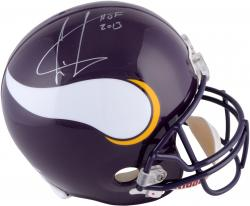 Cris Carter Minnesota Vikings Autographed Riddell Replica Helmet with HOF Inscription