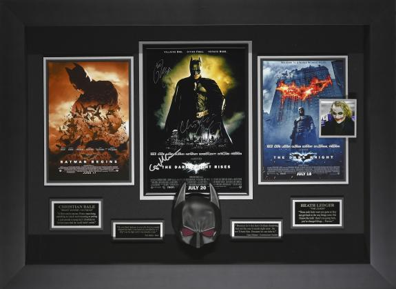 Dark Knight Rises movie poster signed by Christian Bale, Gary Oldman, & Tom Hardy with Batman mask. Framed 42x32x5