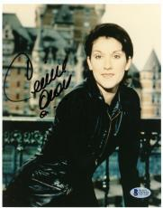 "Celine Dion Autographed 8""x 10"" Black Leather Outfit Photograph With Black Ink - BAS COA"