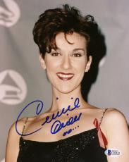 "Celine Dion Autographed 8""x 10"" Wearing Black Dress with Ribbon Photograph - Beckett COA"