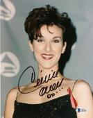 "Celine Dion Autographed 8""x 10"" Wearing Black Dress with Ribbon Photograph With Black Ink - Beckett COA"