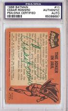 Cesar Romero Autographed Signed 1966 Batman Card PSA/DNA #65088697