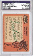 Cesar Romero Autographed Signed 1966 Batman Card PSA/DNA #65088698