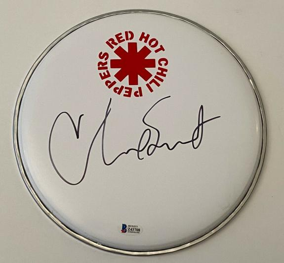 """Chad Smith Signed Autographed 10"""" Drumhead Red Hot Chili Peppers Beckett BAS COA"""
