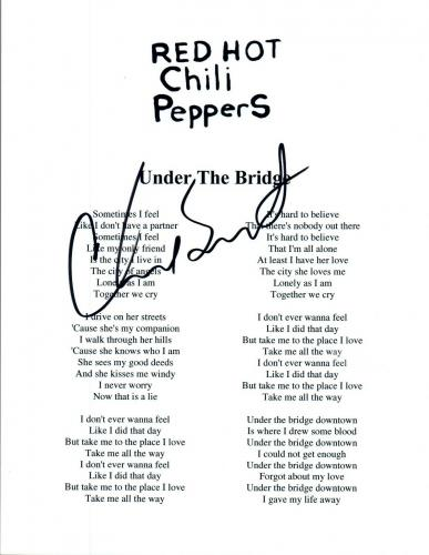 Chad Smith Signed Red Hot Chili Peppers UNDER THE BRIDGE Lyric Sheet COA