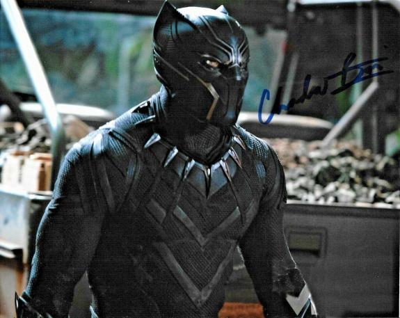 Chadwick Boseman Black Panther Avengers Marvel Signed Auto 8x10 Photo DG COA (A)