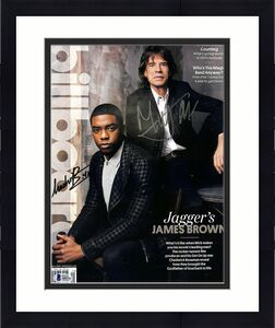 "CHADWICK BOSEMAN & MICK JAGGER Signed Autographed ""Get On Up"" Movie Magazine BAS"