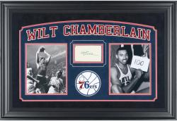 Wilt Chamberlain Philadelphia 76ers Deluxe Horizontal Framed Collectible with 3'' x 5'' Autographed Cut