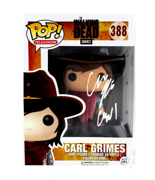 "Chandler Riggs ""Carl Grimes"" Signed The Walking Dead Funko Pop! #388 Vinyl Action Figure"