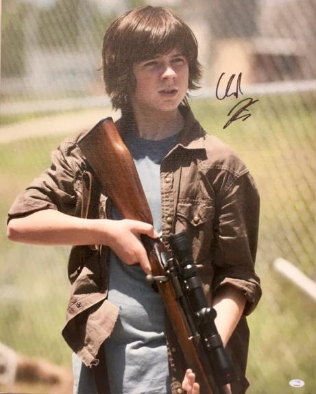 CHANDLER RIGGS- The Walking Dead signed 16x20 Gallery Wrapped Canvas-FSC #10876