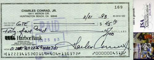 Charles Conrad Jsa Coa Hand Signed Check Authentic Autograph