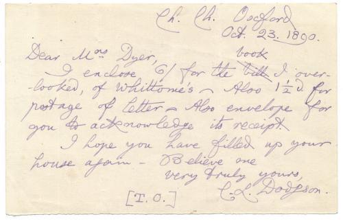 "Charles Dodgson (Lewis Carroll) ""Alice Wonderland"" Handwritten Signed Letter-JSA"