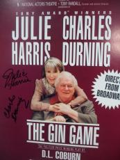 """Charles Durning & Julie Harris """"the Gin Game"""" Dual Signed 14x22 Poster Coa Rare"""