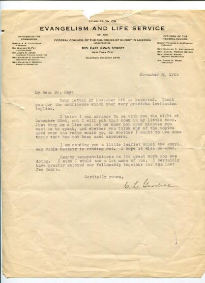 Charles LeRoy Goodell New York Author Clergy Signed Autograph TSL