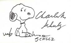 "CHARLES SCHULZ - CARTOONIST that is Best Known for the COMIC STRIP ""PEANUTS"" which Featured the CHARACTERS SNOOPY and CHARLIE BROWN - On this 5x3 Index Card he Signed a Sketch of SNOOPY he Added (Passed Away 2000)"