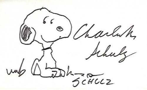 """CHARLES SCHULZ - CARTOONIST that is Best Known for the COMIC STRIP """"PEANUTS"""" which Featured the CHARACTERS SNOOPY and CHARLIE BROWN - On this 5x3 Index Card he Signed a Sketch of SNOOPY he Added (Passed Away 2000)"""