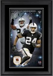 Charles Woodson Oakland Raiders 10'' x 18'' Vertical Framed Photograph with Piece of Game-Used Football - Limited Edition of 250