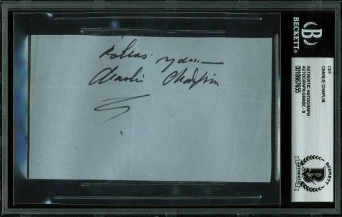 "Charlie Chaplin ""Bless You"" Signed 3x5 Cut Signature Auto Grade Mint 9! BAS Slab"