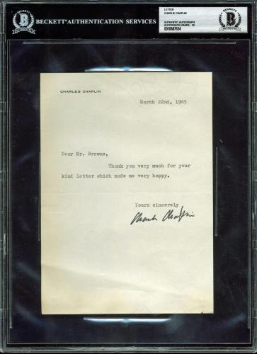 Charlie Chaplin Signed 6x8.25 1965 Letter Auto Graded Gem Mint 10! BAS Slabbed