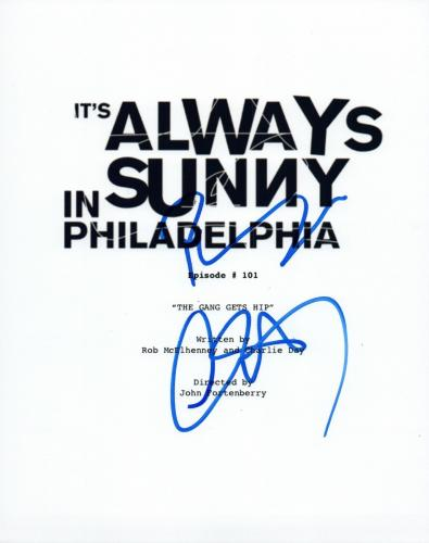 Charlie Day & Rob McElhenney Signed It's Always Sunny in Philadelphia Script VD
