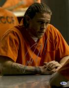 """Charlie Hunnam  Autographed 11"""" x 14"""" Wearing Orange Jump Suit Sons Of Anarchy Silver Ink Photograph - Beckett COA"""