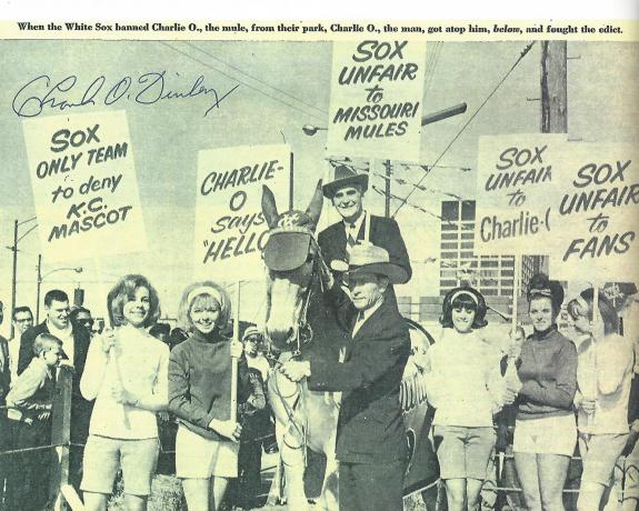 CHARLIE O. FINLEY - Best Known as Owner of Baseball in KANSAS CITY Moving it to OAKLAND in 1968 (Passed Away 1996) Signed (WHITE SOX Banning CHARLIE O. the MULE) 11x8.5  B/W Paper Thin