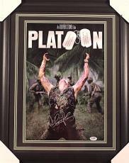 """Charlie Sheen 11x17 Autographed Framed """"platoon"""" Movie Photo Psa Coa"""