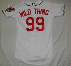 Charlie Sheen Autographed Signed Cleveland Indians #99 Wild Thing Jersey Psa