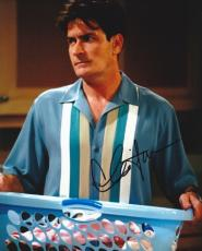Charlie Sheen Autographed Two and a Half Men 8x10 Photo