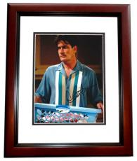 Charlie Sheen Autographed Two and a Half Men 8x10 Photo MAHOGANY CUSTOM FRAME