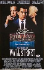 CHARLIE SHEEN AUTOGRAPHED WALL STREET 11X17 MOVIE POSTER w/ PSA ITP COA #8A30420
