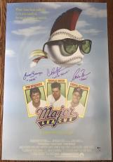 CHARLIE SHEEN, BERENGER & BERNSEN SIGNED MAJOR LEAGUE 24x36 MOVIE POSTER BAS LOA