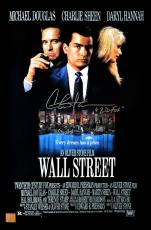 "Charlie Sheen ""Bud Fox"" Autographed Wall Street 11x17 Movie Poster"
