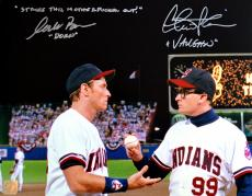 "Charlie Sheen & Corbin Bernsen Autographed Major League 11x14 Photo w/ ""Strike This MF Out"" Inscription"