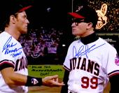 Charlie Sheen & Corbin Bernsen Signed Indians 'Major League' Pitchers Mound Confrontation 11x14 Photo w/Dorn & Strike This Mother F**er Out